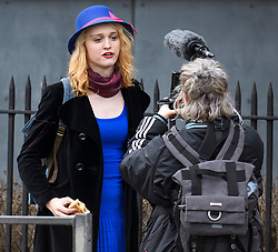 © Licensed to London News Pictures. 13/04/2018. London, UK. Transgender activist TARA WOLF being videoed as she arrives at Hendon Magistrates' Court in London where she is currently on trial for assaulting radical feminist Maria Maclachlan. Tara Wolf, 26, is accused of assault by beating on Maria MacLachlan, 61, during a demonstration at Speaker's Corner, Hyde Park on September 13, last year. Photo credit: Ben Cawthra/LNP