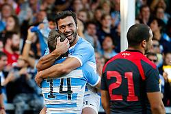 Argentina replacement Martin Landajo (R) celebrates with tryscorer Santiago Cordero (L) - Mandatory byline: Rogan Thomson/JMP - 07966 386802 - 25/09/2015 - RUGBY UNION - Kingsholm Stadium - Gloucester, England - Argentina v Georgia - Rugby World Cup 2015 Pool C.