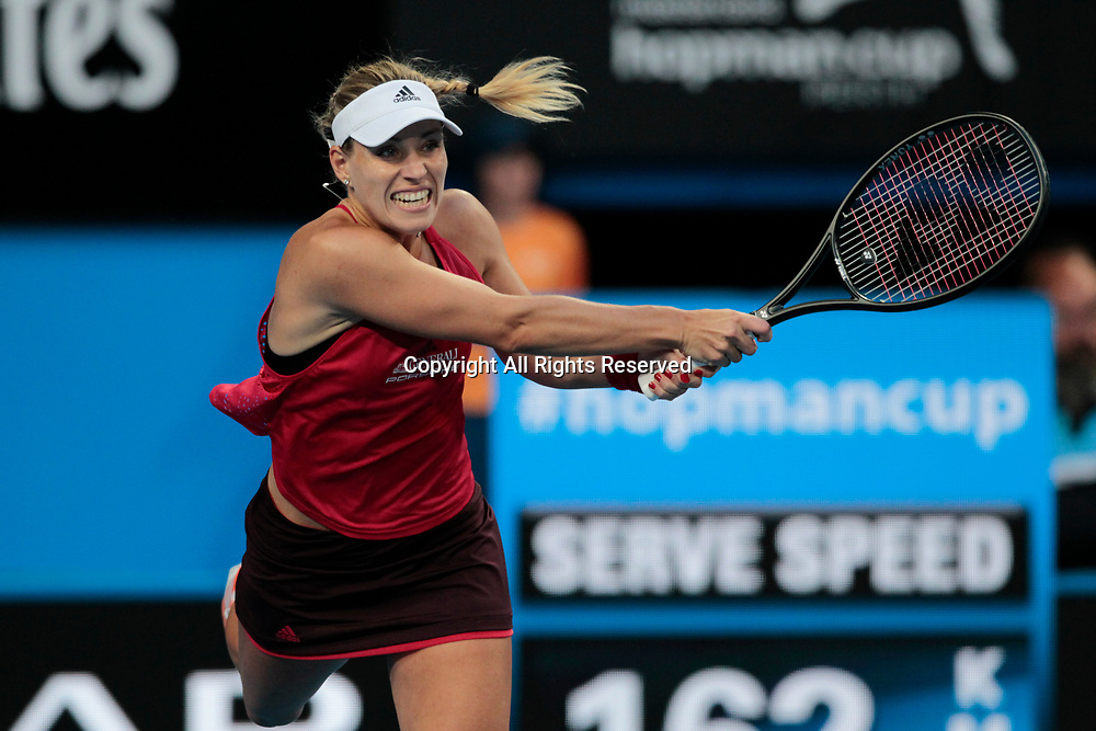 6th January 2018, Perth Arena, Perth, Australia; MasterCard Hopman Cup Tennis Final; Angelique Kerber of Team Germany plays a backhand shot against Belinda Bencic of Team Switzerland during the second set of the Final Kerber won 2 sets to 0