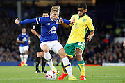 Gerard Deulofeu takes on Norwich's Louis Thompson  during the EFL Cup match between Everton and Norwich City at Goodison Park, Liverpool, England on 20 September 2016. Photo by Craig Galloway.