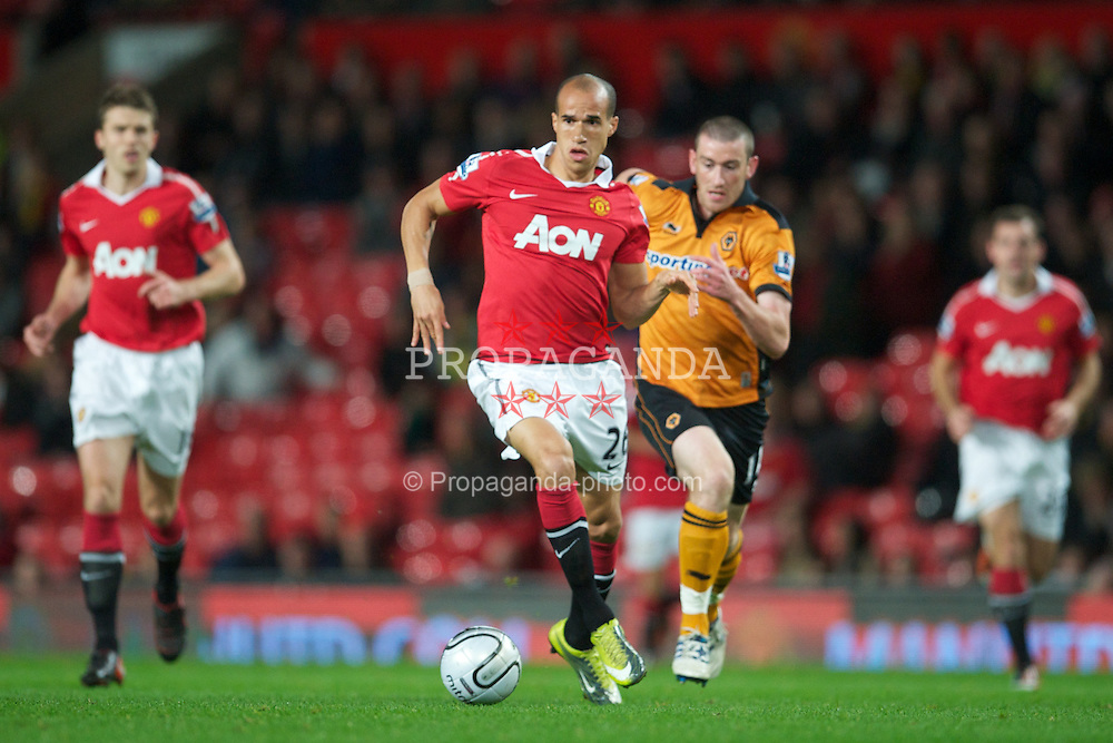 MANCHESTER, ENGLAND - Tuesday, October 26, 2010: Manchester United's Gabriel Obertan in action against Wolverhampton Wanderers during the Football League Cup 4th Round match at Old Trafford. (Pic by: David Rawcliffe/Propaganda)