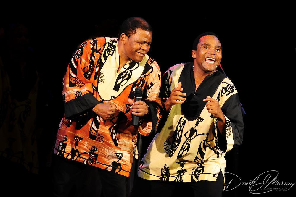 Ladysmith Black Mambazo leader Joseph Shabalala (L) and Thulani Shabalala performing at The Music Hall, Portsmouth, NH