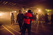 Cast members are congratulated by audience members after the very first performance of Phoenix Rising.<br /> The full-scale production, which runs from 8th Nov - 2nd of Dec 2017 under Smithfield Meat Market, has been put together by charity The Big House, a charity that helps troubled youths who have been in care.