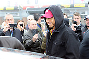 Formula 1 driver, Lewis Hamilton on the grid ahead of his brother's - Nicolas Hamilton - first race the British Touring Car Championship (BTCC) at  Brands Hatch, Fawkham, United Kingdom on 7 April 2019.