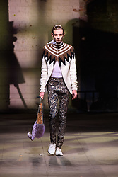 Models wear designs by Stefan Cooke on the catwalk during the MAN London Fashion Week Men's AW18 show, held at the Old Selfridge's Hotel, London. Picture date: Sunday January 7th, 2018. Photo credit should read: Matt Crossick/ EMPICS Entertainment.
