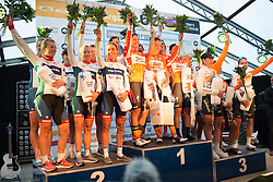Second placed Cervélo-Bigla Cycling Team (L), winners Boels-Dolmans Cycling Team (M) and third placed Rabo-Liv Cycling Team (R) celebrate their places after the 42,5 km team time trial of the UCI Women's World Tour's 2016 Crescent Vårgårda women's road cycling race on August 19, 2016 in Vårgårda, Sweden. (Photo by Balint Hamvas/Velofocus)