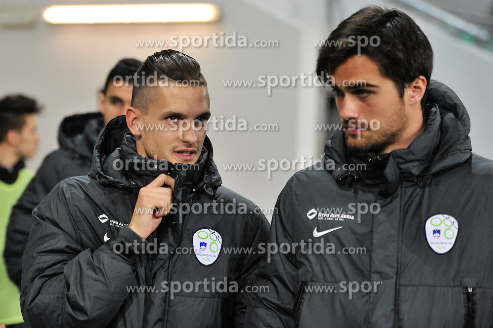 StojanovicPetar & Krajnc Luka during football match between NationalTeams of Slovenia and San Marino in Round 5 of EURO 2016 Qualifications, on March 27, 2015 in SRC Stozice, Ljubljana, Slovenia. Photo by Mario Horvat / Sportida