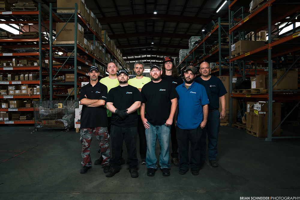 Aug 14, 2017; Rosedale, MD, USA; Michael Brown and the team at Baltimore Windustrial pose for portraits and reportage on assignment in their warehouse.