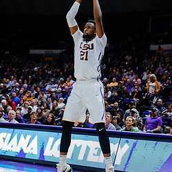 Jan 23, 2018; Baton Rouge, LA, USA; LSU Tigers forward Aaron Epps (21) shoots a three pointer against the Texas A&M Aggies during the second half at the Pete Maravich Assembly Center. LSU defeated Texas A&M 77-65. Mandatory Credit: Derick E. Hingle-USA TODAY Sports