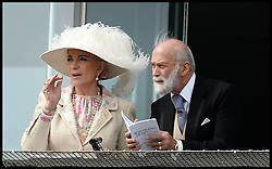 Image ©Licensed to i-Images Picture Agency. 07/06/2014. Prince Michael of Kent and Princess Michael of Kent  on the Royal Balcony after just arriving at the Investec 2014 Espom Derby from Paris. Picture by Andrew Parsons / i-Images