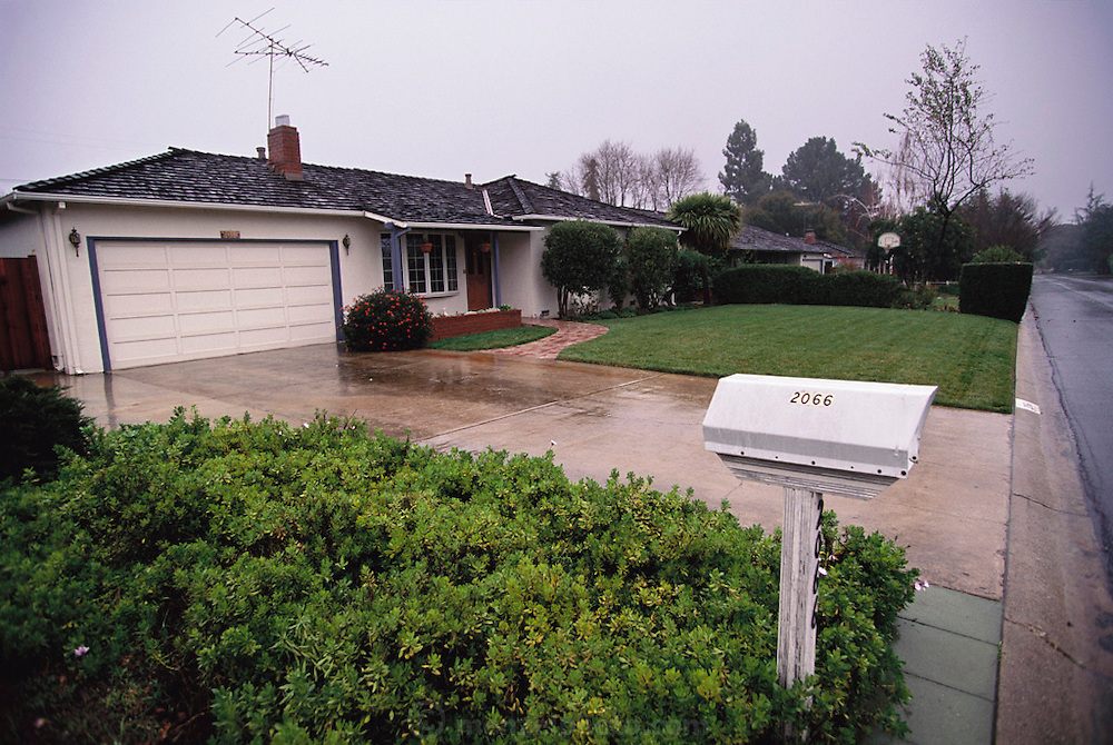 Silicon Valley, California;.The birthplace of Apple Computers: Steven Jobs parents' house in 1976 at 2066 Crist Drive in Los Altos, California. The operation was started in a bedroom, but soon moved to the garage. (1999).