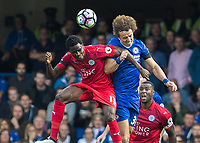 Football - 2016/2017 Premier League - Chelsea V Leicester.<br /> <br /> David Luiz of Chelsea and Daniel Amartey of Leicester City contest a header at Stamford Bridge.<br /> <br /> COLORSPORT/DANIEL BEARHAM