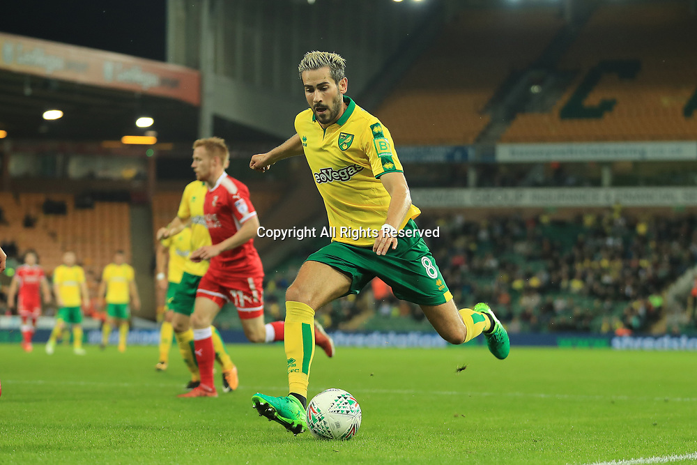 August 8th 2017, Carrow Road, Norwich, England; Carabao Cup First Round; Norwich City versus Swindon Town; Mario Vrancic of Norwich City crosses the ball