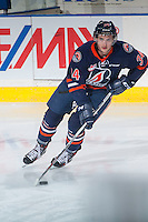 KELOWNA, CANADA - MARCH 25: Deven Sideroff #34 of Kamloops Blazers warms up against the Kelowna Rockets on March 25, 2016 at Prospera Place in Kelowna, British Columbia, Canada.  (Photo by Marissa Baecker/Shoot the Breeze)  *** Local Caption *** Deven Sideroff;