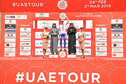 March 1, 2019 - Emirati Arabi Uniti - Foto LaPresse - Massimo Paolone.1 Marzo 2019 Emirati Arabi Uniti.Sport Ciclismo.UAE Tour 2019 - Tappa 6 - da Ajman a Jebel Jais - 180 km.Nella foto: David Gaudu (Groupama - FDJ) durante la premiazione..Photo LaPresse - Massimo Paolone.March 1, 2019 United Arab Emirates.Sport Cycling.UAE Tour 2019 - Stage 6 - Ajman to Jebel Jais - 111,8 miles.In the pic: David Gaudu (Groupama - FDJ) during the award ceremony (Credit Image: © Massimo Paolone/Lapresse via ZUMA Press)