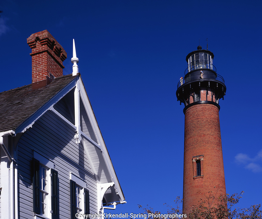AA05857-04...NORTH CAROLINA  - Currituck Beach Lighthouse and Keepers House at Corolla  in the Outter Banks.