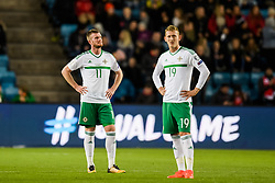 October 8, 2017 - Oslo, NORWAY - 171008  Chris Brunt and George Saville of Northern Ireland  looks dejected after Norways 1-0 goal during the FIFA World Cup Qualifier match between Norway and Northern Ireland on October 8, 2017 in Oslo..Photo: Jon Olav Nesvold / BILDBYRÃ…N / kod JE / 160041 (Credit Image: © Jon Olav Nesvold/Bildbyran via ZUMA Wire)