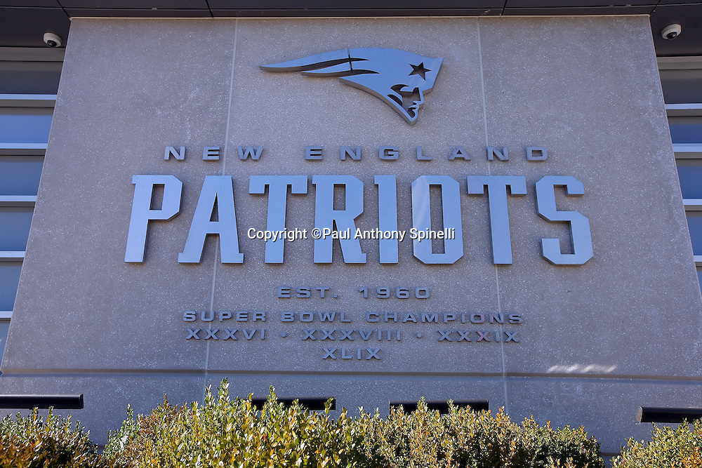 An exterior wall of Gillette Stadium features the Roman Numerals of the Super Bowl Championships won by the New England Patriots in this general view photograph taken before the New England Patriots 2015 week 9 regular season NFL football game against the Washington Redskins on Sunday, Nov. 8, 2015 in Foxborough, Mass. The Patriots won the game 27-10. (©Paul Anthony Spinelli)