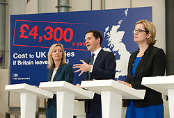 © Licensed to London News Pictures.18/04/2016. Bristol, UK.  National Composites Centre, Emersons Green. Picture of: Secretary of State for Environment, Food and Rural Affairs LIZ TRUSS, Chancellor GEORGE OSBORNE, Secretary of State for Energy and Climate Change AMBER RUDD; Treasury Report event re the EU referendum and the cost to UK families of the UK leaving the EU, with Chancellor George Osborne, Secretary of State for Energy and Climate Change Amber Rudd, Secretary of State for Environment, Food and Rural Affairs Liz Truss, and Secretary of State for Work and Pensions Stephen Crabb. Photo credit : Simon Chapman/LNP