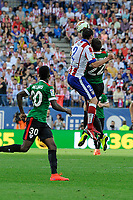 Atletico de Madrid´s Diego Godin and Athletic Club´s Guillermo Fernandez and Inaki Williams during 2014-15 La Liga match between Atletico de Madrid and Athletic Club at Vicente Calderon stadium in Madrid, Spain. May 02, 2015. (ALTERPHOTOS/Luis Fernandez)