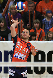 Angel Perez of ACH at last final volleyball match of 1.DOL Radenska Classic between OK ACH Volley and Salonit Anhovo, on April 21, 2009, in Arena SGS Radovljica, Slovenia. ACH Volley won the match 3:0 and became Slovenian Champion. (Photo by Vid Ponikvar / Sportida)