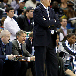 January 22, 2011; New Orleans, LA, USA; San Antonio Spurs head coach Gregg Popovich watches from the bench during the third quarter against the New Orleans Hornets at the New Orleans Arena. The Hornets defeated the Spurs 96-72.  Mandatory Credit: Derick E. Hingle