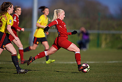 LIVERPOOL, ENGLAND - Sunday, February 4, 2018: Liverpool's Ali Johnson scores the first goal during the Women's FA Cup 4th Round match between Liverpool FC Ladies and Watford FC Ladies at Walton Hall Park. (Pic by David Rawcliffe/Propaganda)
