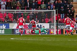 Dean Henderson of Shrewsbury Town dives to save a penalty shot by Kieffer Moore of Rotherham United - Mandatory by-line: Ryan Crockett/JMP - 18/11/2017 - FOOTBALL - Aesseal New York Stadium - Rotherham, England - Rotherham United v Shrewsbury Town - Sky Bet League One