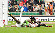 LONDON, ENGLAND - Sunday 11 May 2014, Seabelo Senatla of South Africa scores his try during the Plate final match between South Africa and Kenya at the Marriott London Sevens rugby tournament being held at Twickenham Rugby Stadium in London as part of the HSBC Sevens World Series.<br /> Photo by Roger Sedres/ImageSA