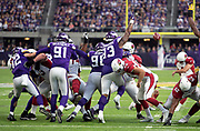 Minnesota Vikings defensive tackle Sheldon Richardson (93) leaps and tries to block a second quarter field goal that cuts the Minnesota Vikings fourth quarter lead to 27-17during the NFL week 6 regular season football game against the Arizona Cardinals on Sunday, Oct. 14, 2018 in Minneapolis. The Vikings won the game 27-17. (©Paul Anthony Spinelli)