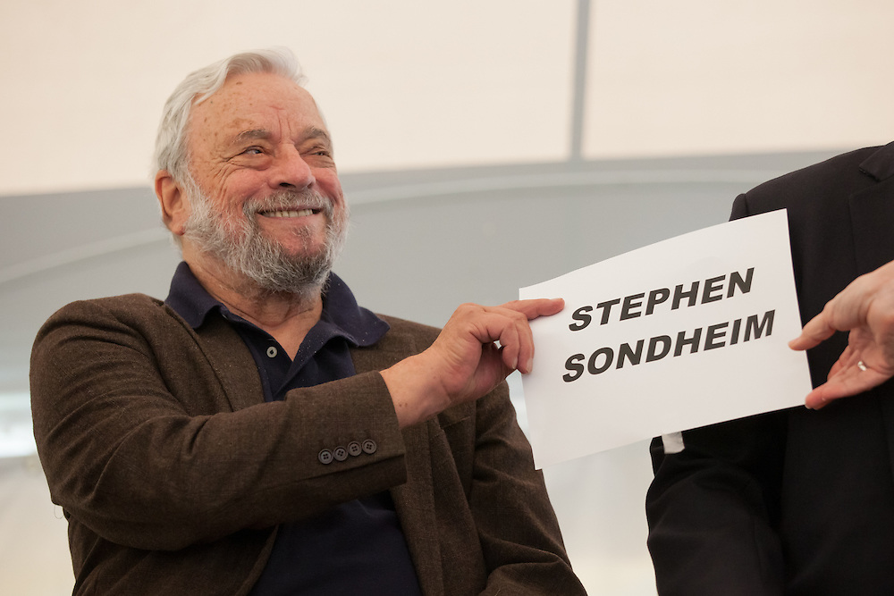 Broadway composer and lyricist Stephen Sondheim hands off his seat card at the start of a ceremony to award him the Edward MacDowell Medal for lifetime achievement, at the MacDowell Colony, in Peterborough, NH on Sunday, August 11, 2013. Sondheim has won more Tony Awards than any other composer. His hit musicals include &quot;Follies,&quot; ''A Little Night Music&quot; and &quot;Sweeney Todd.&quot; <br /> (Matthew Cavanaugh Photo)