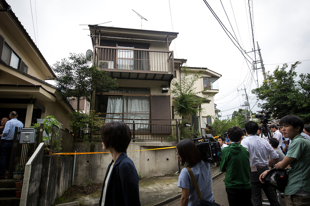 SAGAMIHARA, JAPAN - JULY 27 :  Japanese reporters waits outside of the house of Satoshi Uematsu, the suspect in a mass stabbing attack, for the Police investigation to search his house at Sagamihara on Wednesday, July 27, 2016 in Kanagawa prefecture, Japan. Police arrested 26 year old Satoshi Uematsu after breaking inside the building facility for handicapped and killing 19 people and injuring 20 in the city of Sagamihara, west of Tokyo. (Photo: Richard Atrero de Guzman/NURPhoto)
