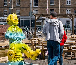Pictured: Oor Wullie Bucket Art Trail. Leith, Edinburgh, Scotland, United Kingdom, 17 June 2019. An art trail of 200 Oor Wullie sculptures have appeared in Scottish cities overnight in a mass arts event that lasts until August 30th. The sculptures will be auctioned to raise money for Scotland's children's hospital charities. There are 5 in the Leith area, and 60 in Edinburgh altogether. Sailoor Wullie by The Leith Agency at Commercial Quay.<br /> Sally Anderson | EdinburghElitemedia.co.uk
