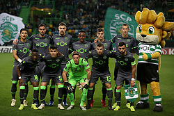 December 13, 2018 - Lisbon, Portugal - Sporting's starter team before the UEFA Europa League Group E football match Sporting CP vs FC Vorskla Poltava at Alvalade stadium in Lisbon, Portugal on December 13, 2018  (Credit Image: © Pedro Fiuza/NurPhoto via ZUMA Press)