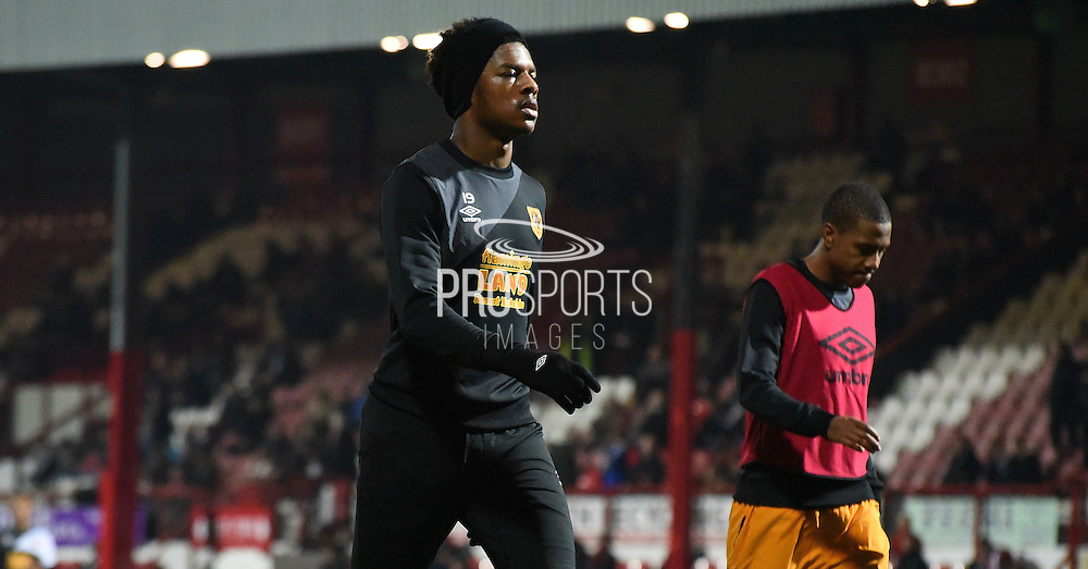Chuba Akpom ahead of the Sky Bet Championship match between Brentford and Hull City at Griffin Park, London, England on 3 November 2015. Photo by Michael Hulf.