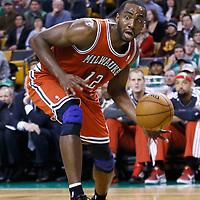 21 December 2012: Milwaukee Bucks power forward Luc Richard Mbah a Moute (12) dribbles during the Milwaukee Bucks 99-94 overtime victory over the Boston Celtics at the TD Garden, Boston, Massachusetts, USA.
