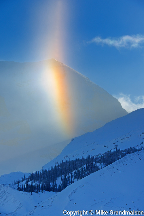 Partial halo at Athabasca Glacier. in the Canadian Rocky Mountains , Jasper National Park, Alberta, Canada<br />