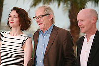 Simone Kirby, Ken Loach, Paul Laverty at the photo call for the film Jimmy's Hall at the 67th Cannes Film Festival, Thursday 22nd May 2014, Cannes, France.