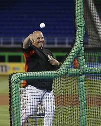 April 10, 2017 - Miami, FL, USA - Miami Marlins third base coach Fredi Gonzalez throws during batting practice before the start of the home opener, against the Atlanta Braves, at Marlins Park in Miami on Tuesday, April 11, 2017. (Credit Image: © David Santiago/TNS via ZUMA Wire)