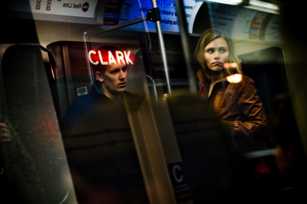 Passengers on a CTA Train on the Clark/Division red line station.<br /> <br /> The 'L' (Elevated train) It is operated by the Chicago Transit Authority (CTA). It is the second largest rapid transit system in the United States<br /> <br /> It provides 24-hour service, and started operating in 1892, making it the second-oldest rapid transit system in the Americas after New York.<br /> <br /> The 'L' has been credited with helping create the densely built-up city core that is one of Chicago's distinguishing features.<br /> <br /> <br /> Green Chicago.Photographer: Chris Maluszynski /MOMENT