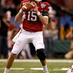 January 4, 2011; New Orleans, LA, USA;  Arkansas Razorbacks quarterback Ryan Mallett (15) looks to pass against the Ohio State Buckeyes during the second quarter of the 2011 Sugar Bowl at the Louisiana Superdome.  Mandatory Credit: Derick E. Hingle