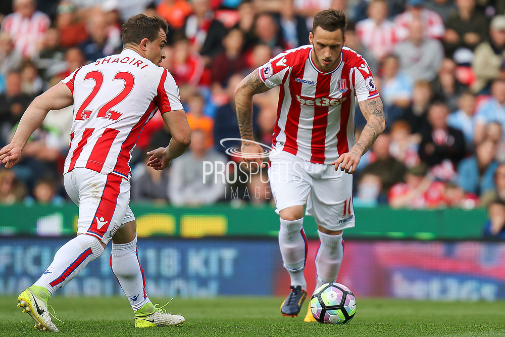 Stoke City forward Marko Arnautovic strikes at goal during the Premier League match between Stoke City and Arsenal at the Bet365 Stadium, Stoke-on-Trent, England on 13 May 2017. Photo by Aaron  Lupton.
