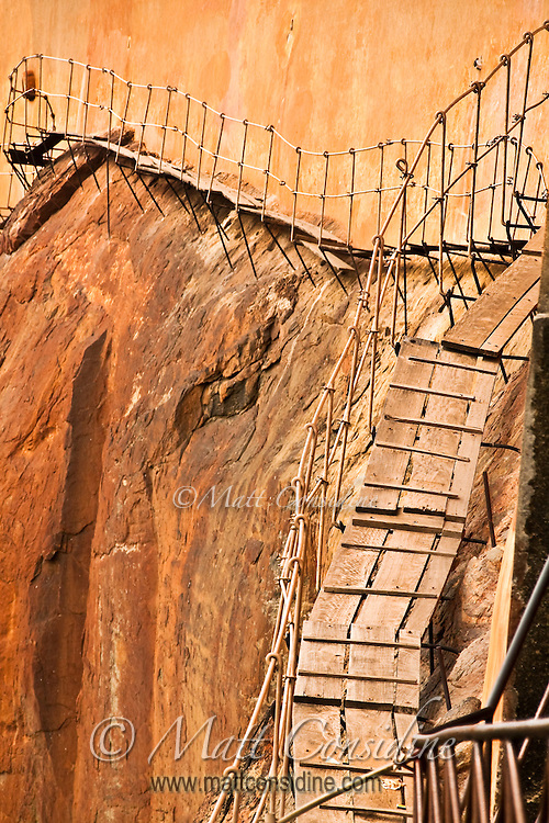 An old and precarious path on the cliff face of Sigiriya (Lion's rock).<br /> (Photo by Matt Considine - Images of Asia Collection)