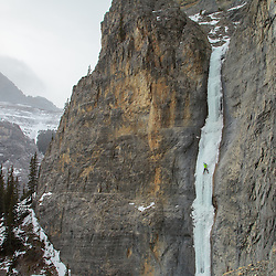 Mark Howell on the rarely climbed Caroline Falls, WI5 in the North Ghost. Since the driving access changed in 2017 this route will likely see less ascents then it already did. It's a great 55m WI5