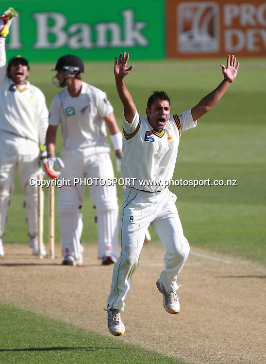 Pakistan bowler Abdur appeals unsuccessfully for a LBW decision to dismiss Reece Young during play on Day 1 of the 2nd test match.  New Zealand Black Caps v Pakistan, Test Match Cricket. Basin Reserve, Wellington, New Zealand. Saturday 15 January 2011. Photo: Andrew Cornaga/photosport.co.nz