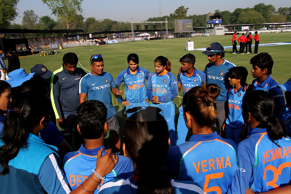 Indian players make huddle during the first women's one day International ( ODI ) match between India and Australia held at the Reliance Cricket Stadium in Vadodara, India on the 12th March 2018<br /> <br /> Photo by Vipin Pawar / BCCI / SPORTZPICS