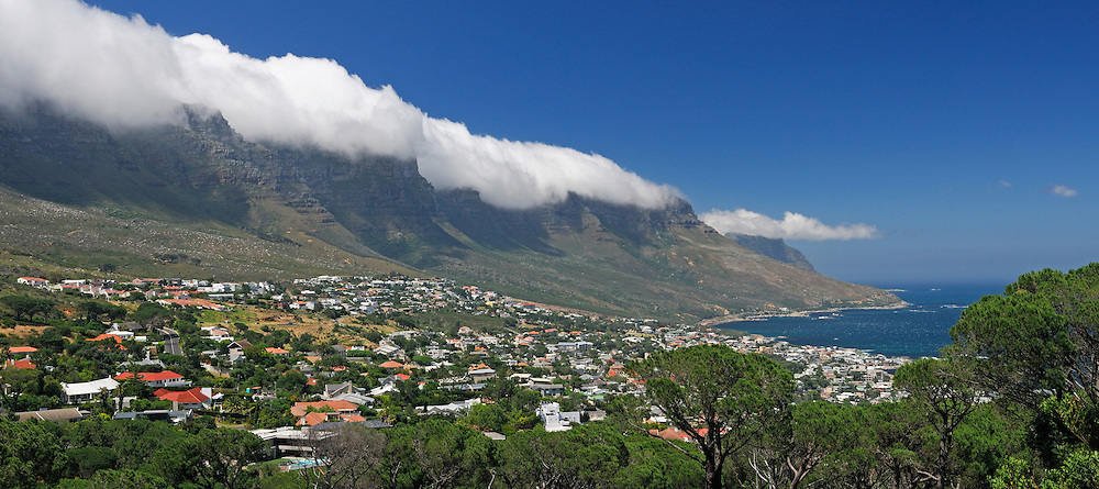 Fog over Twelve Apostles Mountains, Camps Bay, Cape Peninsula, Western Cape, South Africa