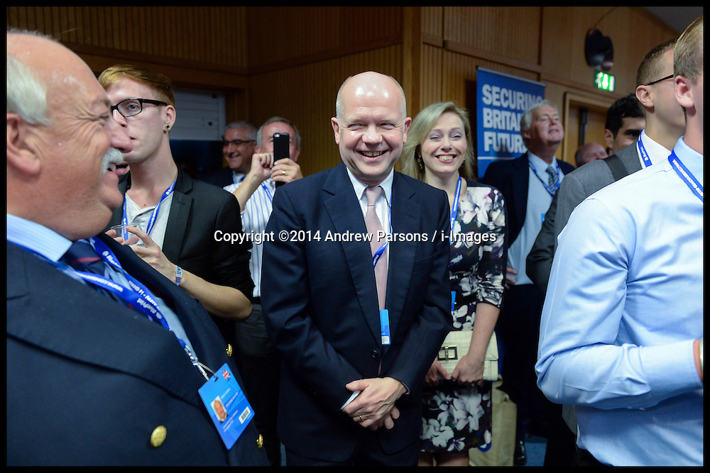 Image ©Licensed to i-Images Picture Agency. 28/09/2014. Birmingham, United Kingdom. The Prime Minister David Cameron and William Hague attend receptions on  Day one of the  Conservative Party Conference.Picture by Andrew Parsons / i-Images