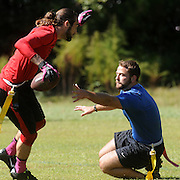 Defense in Depth's Joe Block misses YGH's Kenny Meares at Castle Hayne Park Sunday October 5, 2014. (Jason A. Frizzelle(