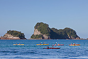 Kayakers offshore from Coromandel Beach, New Zealand